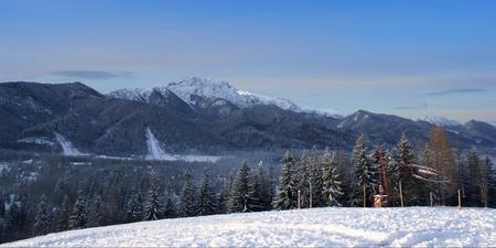 Winter mountains. Tatry wiev from Antałówka hill. Zakopane city. Poland. photo