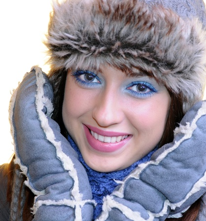 Brunette in winter clothes. photo