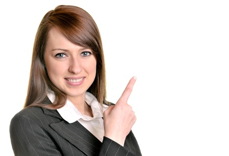pointing up: Pretty businesswoman Stock Photo