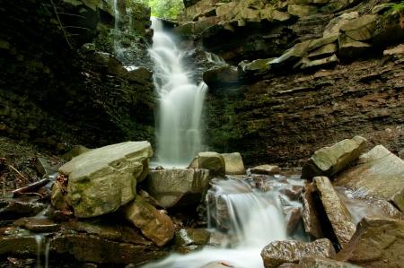 atilde: Waterfall on mosorny potok stream in Poland  Babiogorski National Park