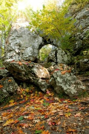 jura: Stone gate in Jura Krakowsko-Czestochowska  Poland  Autumn