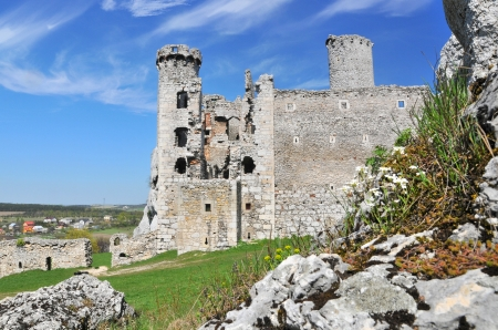 Ruins of medieval castle Ogrodzieniec in Poland Stock Photo