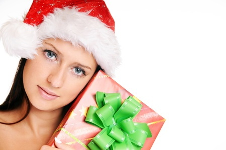 Beautiful Young Happy Christmas Woman over white Stock Photo - 14959034