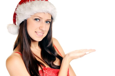 Beautiful Young Happy Christmas Woman over white Stock Photo - 14959036