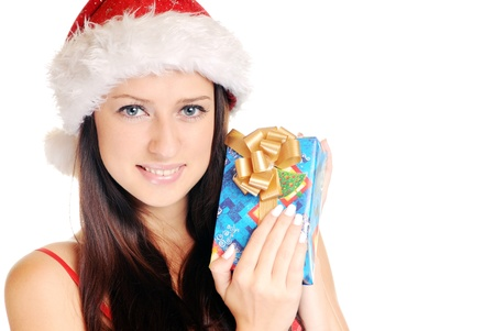Beautiful Young Happy Christmas Woman over white Stock Photo - 14959040