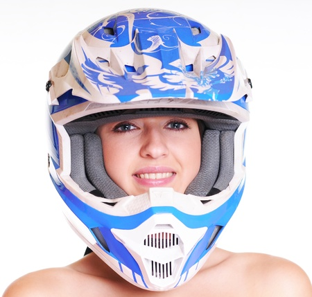 woman with motocross helmet on white background