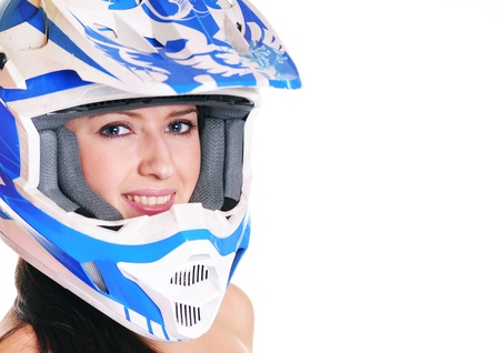 motorcycle accidents: woman with motocross helmet on white background