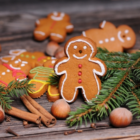 homemade christmas cookies on wooden background photo
