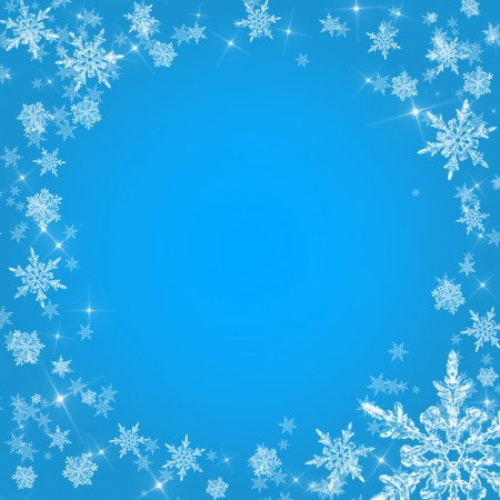 Blue christmas background with snowflakes photo
