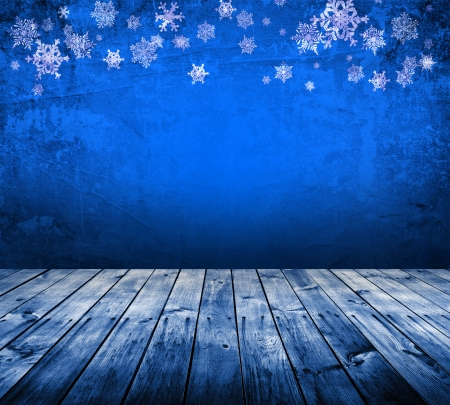 Blue christmas background with snowflakes Stock Photo