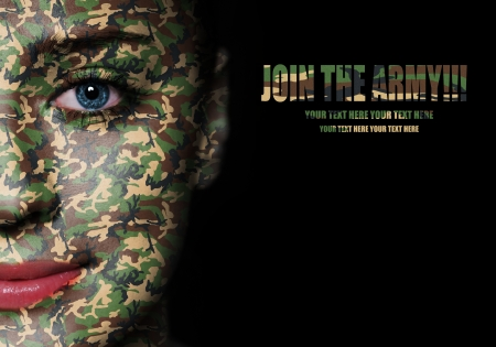 Woodland camouflage painted on woman a face - army concept photo