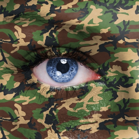 vigilant: Woodland camouflage painted on woman a face - army concept