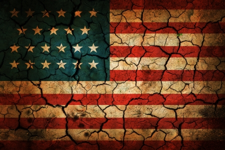USA flag painted on cracked earth background photo