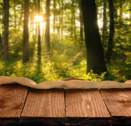 Empty table and defocused forest landscape in background. Great for product display montages. photo