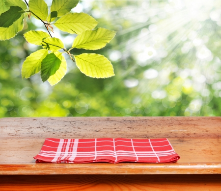 Empty wooden table for product display montages