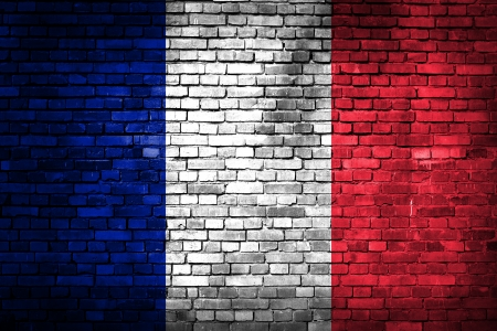 France flag on old grunge brick wall photo