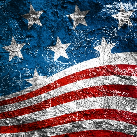 american flag waving: USA style background on old grunge wall