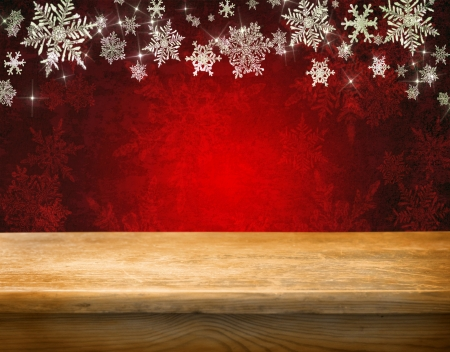 seasonal light display: Empty wooden table for product display montages - winter theme