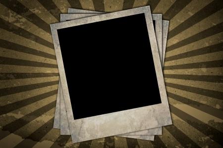sun burnt: Retro photo frames on brown striped background Stock Photo