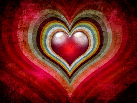 Dark love background with colorful hearts photo