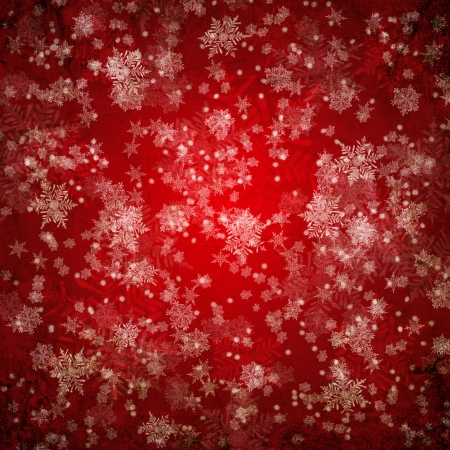 christmas snow: Red christmas background with white snow flakes