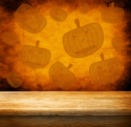 hallooween: Empty wooden table for product display montages - hallooween theme Stock Photo