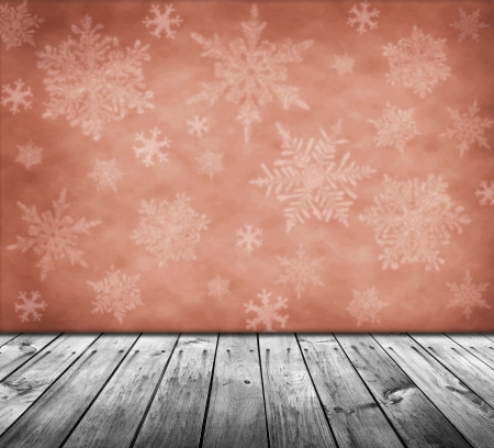 red christmas background with snowflakes photo