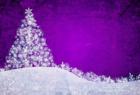 christmas tree purple: Purple christmas background with snowflakes and pine tree