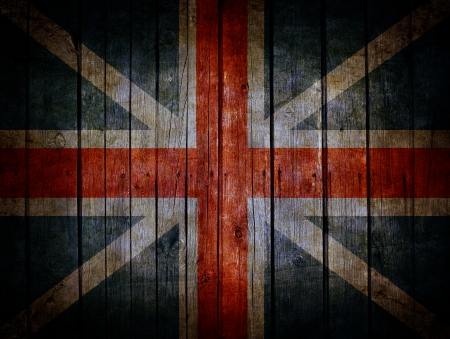 England flag painted on very old dark brown wooden planks background Stock Photo - 23191225
