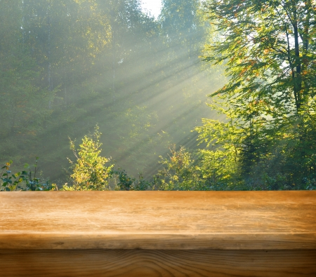 Empty wooden deck table with autumn forest in background. Ready for product display montage. photo