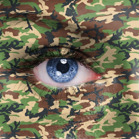 guerrilla warfare: Jungle camouflage on human face