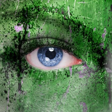 Cyborg face - futuristic background