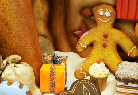 Christmas Decorations with Gingerbread man photo