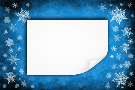 snow christmas: Grunge blue paper background or texture - christmas theme