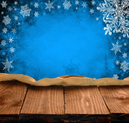 seasonal light display: empty wooden table and christmas background. Great for product display montages. Stock Photo