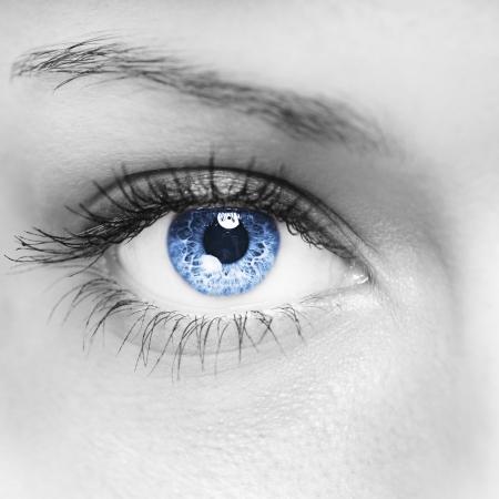 Blauwe vrouw oog macro shot