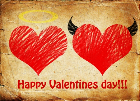 Valentines day background wih two hearts - devil and angel photo