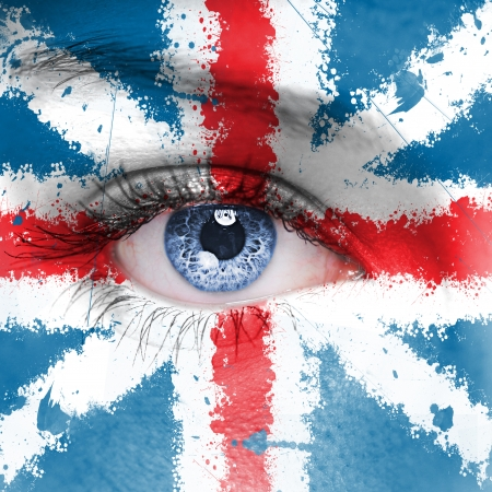 England flag painted on woman face photo