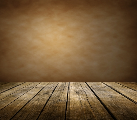 Wooden deck table brown background