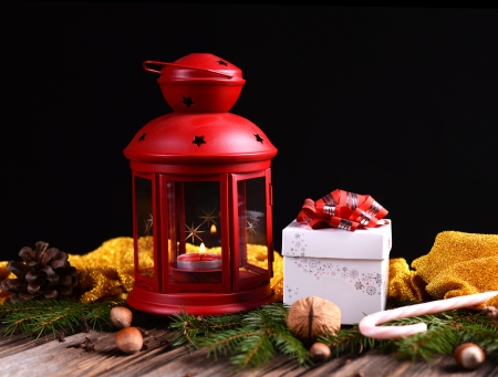 Christmas lantern with presents photo