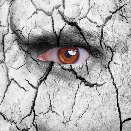 dryness: Nature concept - carcked earth surface with brown eye