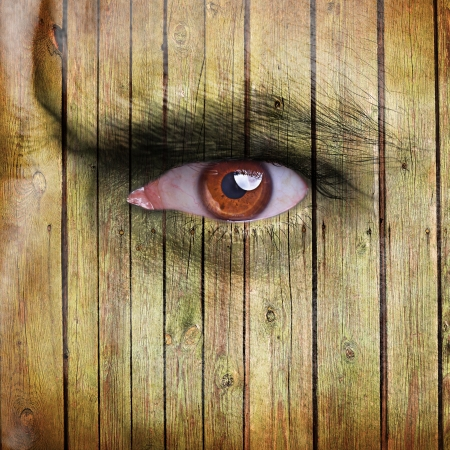 Angry man face covered with wooden texture photo