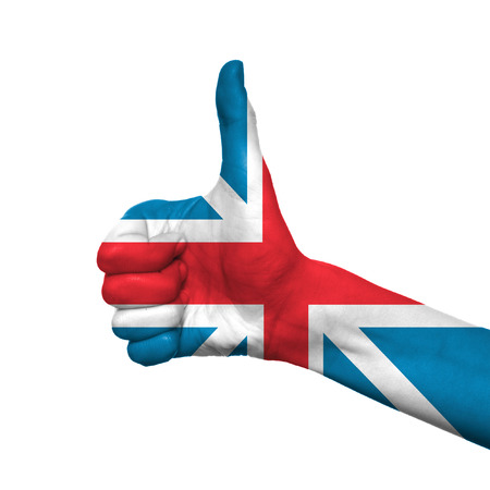 England flag painted on hand over white background photo