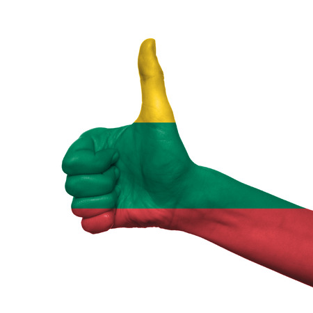 assertion: Lithuania flag painted on hand over white background
