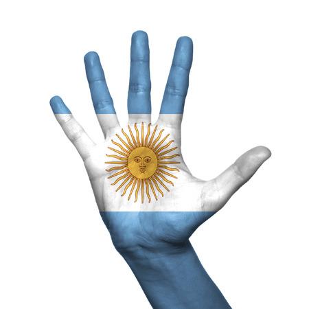 bandera argentina: Argentina bandera pintada en la mano sobre fondo blanco