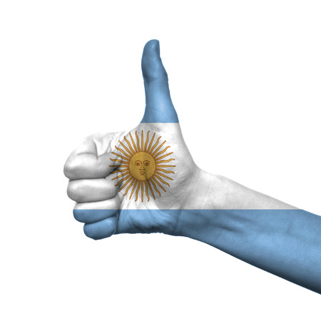 argentina flag: Argentina flag painted on hand over white background