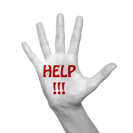 help me: Help word painted on hand over white background Stock Photo