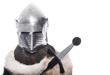 Portrait of XV century knight on white background Stock Photo