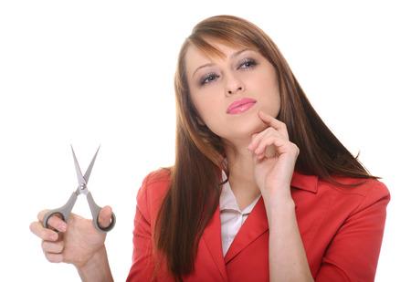 Beautiful brunette posing over white background photo