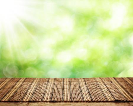 bambu: Vector vacío y el fondo desenfocado verde fresco Foto de archivo